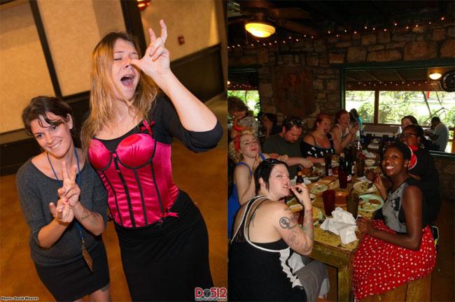 Left: the sign language interpreters from Austin Community College get into it! ©David Wheeler    Right: Peggy de Lune, Franki Markstone, Dainty Dandrige, Nikki DaVaughn, Ginger Snaps and Crimson Skye at the Sunday BBQ. ©Christina Berry (Texas Burlesque Festival 2013)
