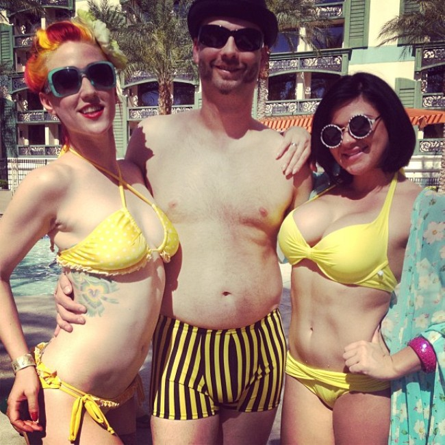 Hanging by the pool: Melody Mangler and her husband, and Roxi DLite.  ©Roxi DLite