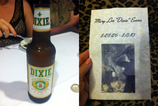 Dixie beer from New Orleans and the order of service at the Dixie Evans memorial service.  ©Dirty Martini