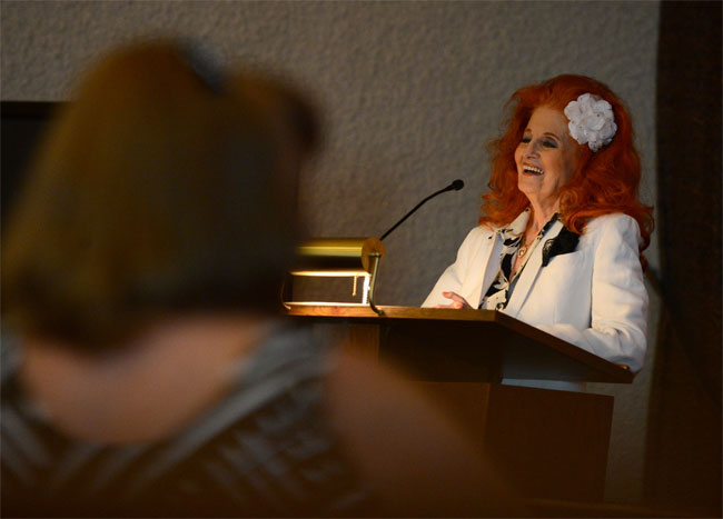 Tempest Storm speaking at the Dixie Evans memorial service. ©Jennifer Cappuccio Maher/Inland Valley Daily Bulletin