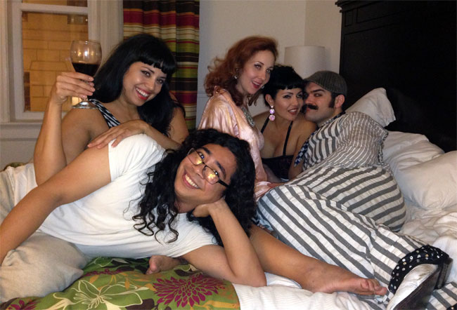 Bedtime with Coco Lectric, Ruby Joule and Ruby Champagne at the San Antonio Burlesque Festival.  ©Russell Bruner