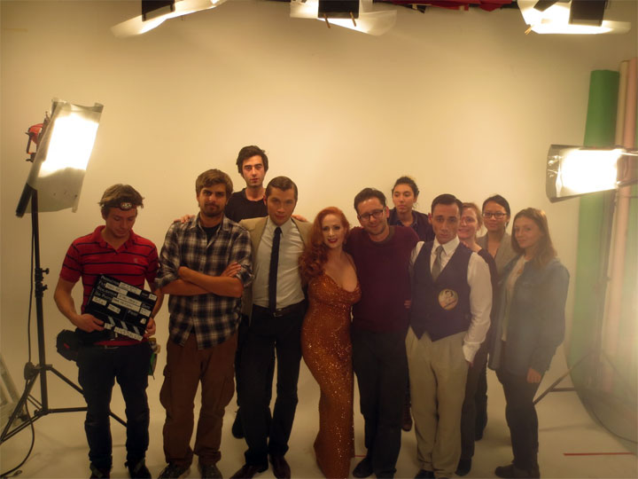 Catherine D'Lish with the Dead Air music video cast and crew.  ©Not to be used or shared without permission.
