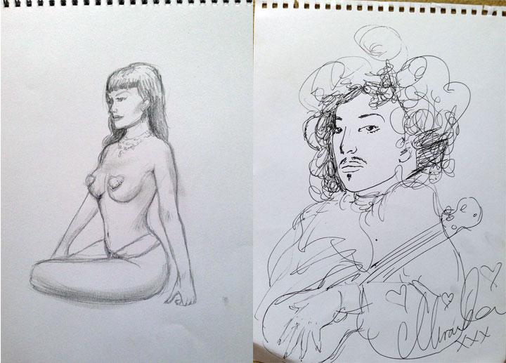 Miss Miranda's drawings of Bettsie Bon Bon and Fancy Chance at Dr Sketchy's Anti-Art School at London Wonderground 2014.  ©Miss Miranda