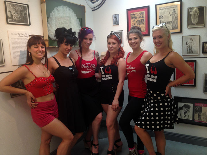 Ginger Valentine and the Ruby Revue girls at the Burlesque Hall of Fame Museum after the Burlesque Hall of Fame Weekend 2014.  ©Ginger Valentine