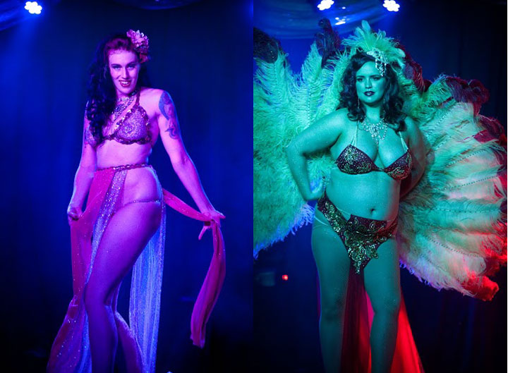 Holly Dai (left) and Jacquline Chanton (right)  at the Oregon Burlesque Festival. ©Sophia Flash