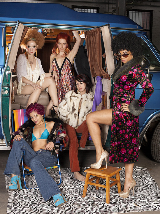 Evelyn Vinyl, Gal Friday, Nasty Canasta,Mala Morrigan and Poison Ivory for Wasabassco's 70s Van Show, 2013 .  (Interview: Doc Wasabassco – 10 Years in Burlesque)