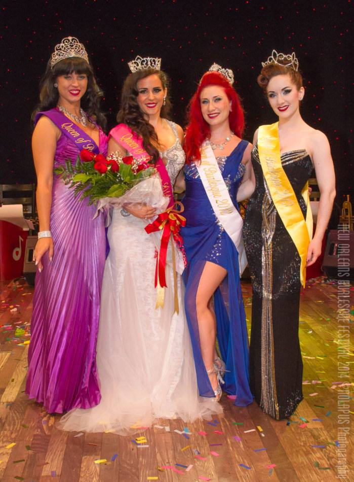 Elle Dorado (left of centre) with previous New Orleans Burlesque Festival winners Ginger Valentine (left), Angi B. Lovely (right of centre) and Medianoche (right).  ©NOLAPUS.com