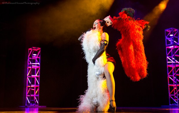 Kitty Bang Bang in the Viva Las Vegas Burlesque Showcase, April 2016. ©Chris Harman/Harman House Photography for 21st Century Burlesque Magazine. Not to be used without permission.