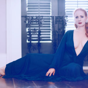Catherine D'Lish in a gown from her own line, Boudoir By D'Lish. Image Catherine D'Lish