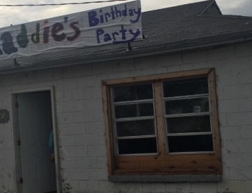 Truth in advertising, the sign did say M-Addie's Birthday Party.