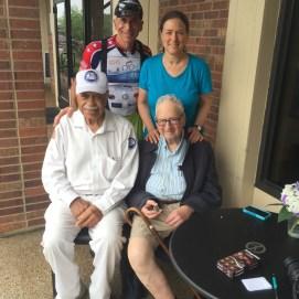 With good friend Nancy Yawitz, her 99 year old father, Aubrey, and Wilk.