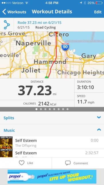 It was an easy ride from Monee to Chicago, after riding 151 miles yesterday.