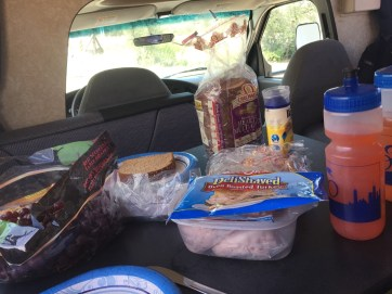 Lunch RV style. Great to sit down and get out of the heat