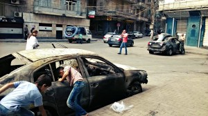 Aleppo burned car