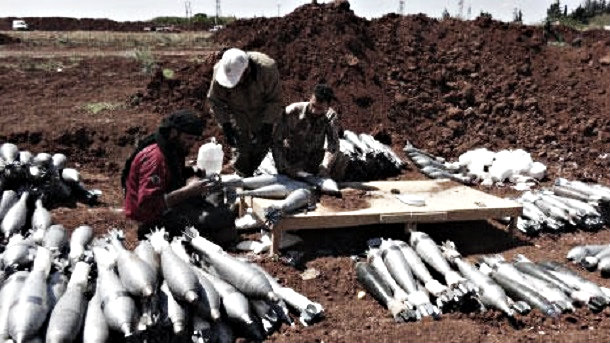 Ahrar al Sham terrorists preparing rockets in preparation for bombardment of Kafarya and Foua