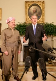 President George W. Bush and KRG President Massoud Barzani, October, 2005.