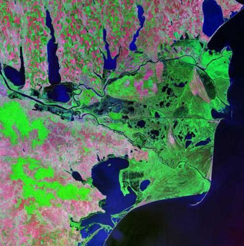 Řeky se vinou kontinenty jako cévy a opouštějí pevninu do moří a oceánů.  Tady, na svém konci, pak vytváří fantastické obrazce, viditelné jen očima satelitů.