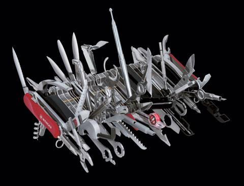 Vše v jednom švýcarském noži Zcela nepraktické řešení vrcholu praktičnosti Švýcarská firma Wenger, která se proslavila výrobou červených kapesních nožů s několika dalšími funkcemi, se snad jednoduše zbláznila.