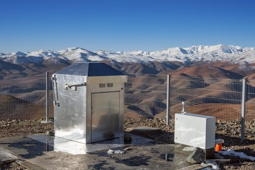 The MASCARA (Multi-site All-Sky CAmeRA) station at ESO's La Silla Observatory in Chile achieved first light in July 2017. This new facility will seek out transiting exoplanets as they pass in front of their bright parent stars and create a catalogue of targets for future exoplanet characterisation observations. This picture shows the compact housing of MASCARA at its site in the spectacular snow-tipped mountain scenery of Chile.