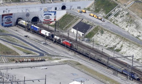 An Eurotunnel freight shuttle enters the Channel tunnel in Coquelles, near Calais, northern France, July 21, 2015. REUTERS/Pascal Rossignol