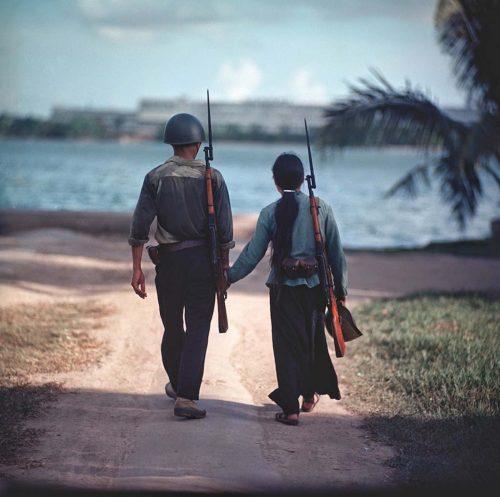 A couple of warriors holding hands, Vietnam, 1971