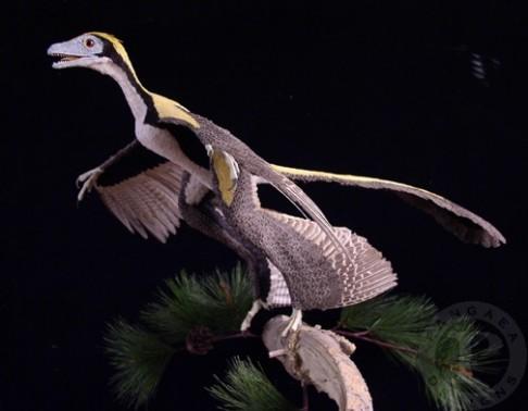 Dinosaurus s ptákem v žaludku