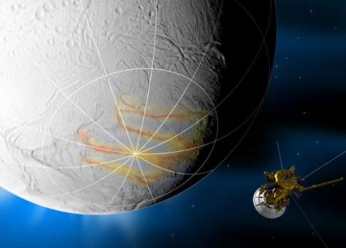 Cassini vyfotila gejzíry na Enceladu