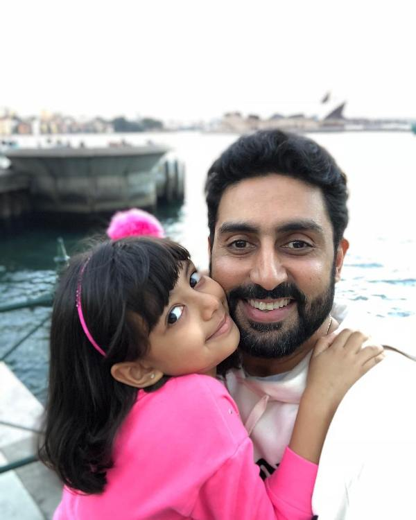 Abhishek Bachchan with his daughter