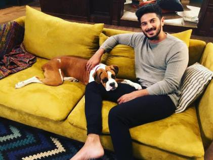Dulquer Salmaan with his pet dog