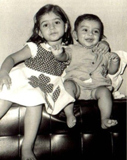 A childhood photo of Ameesha Patel and her brother, Ashmit Patel