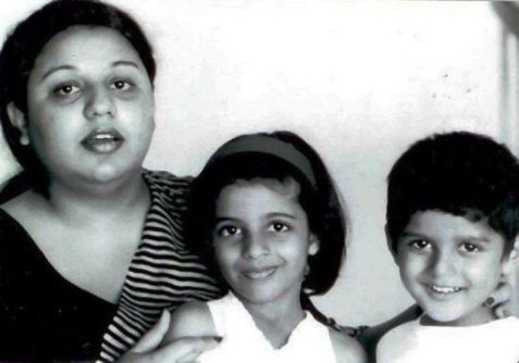 A Childhood Picture of Farhan Akhtar with His Mother and Sister