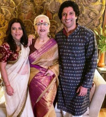 Farhan Akhtar with His Mother and Sister
