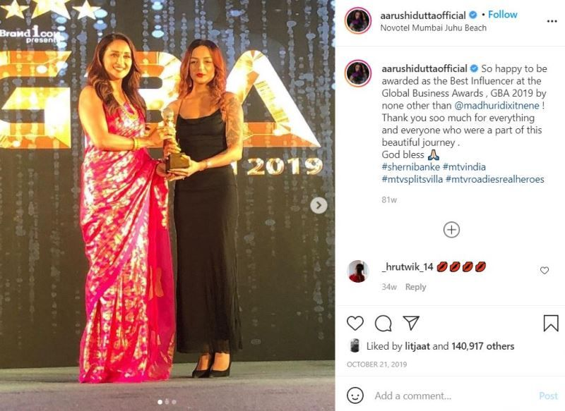 Aarushi Dutta beingh awarded at GBA 2019