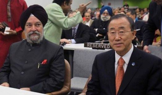 Hardeep Singh Puri, as a Permanent Representative of India to the United Nations, with the former Secretary-General of the United Nations Ban Ki-moon