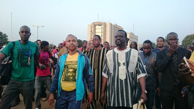 Bénéwendé Sankara et Tahirou Barry à la place de la Révolution