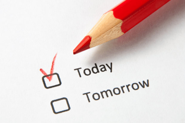 "photo shows a red pencil and two options with checkboxes that read ""today"" and ""tomorrow"""