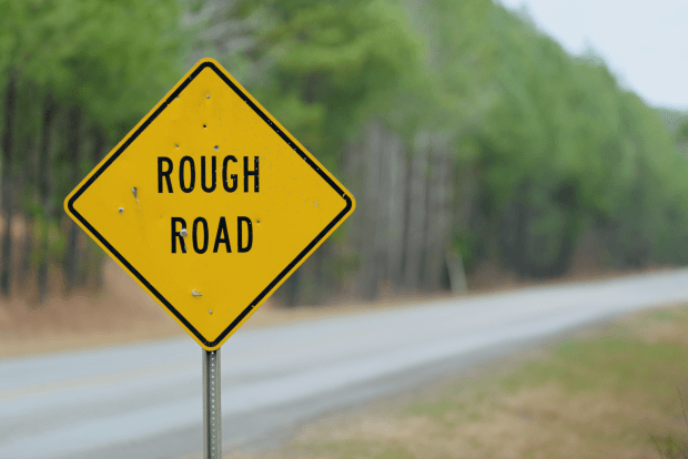 photo shows warning sign for a rough road