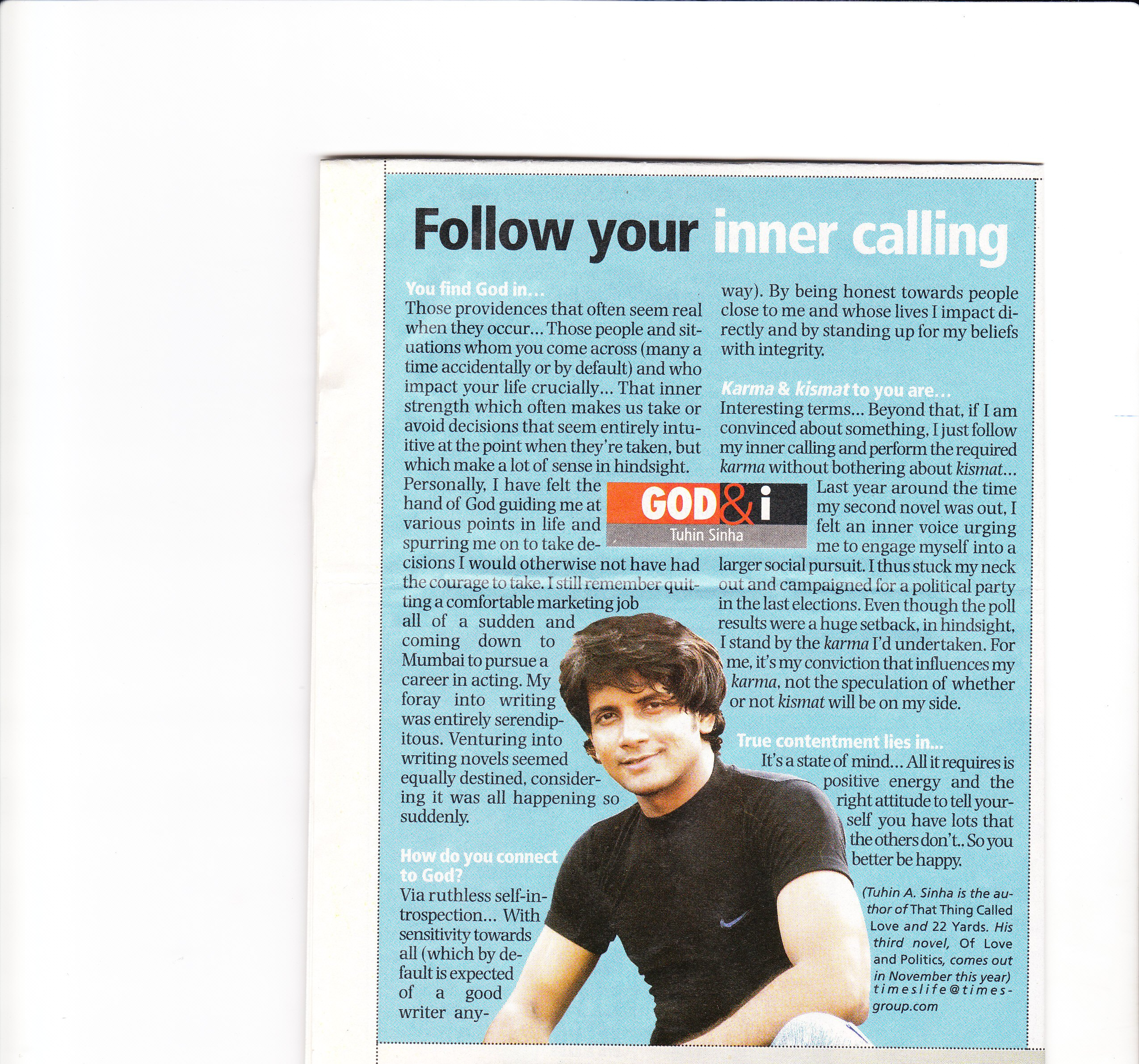 God and I, Times Life, August 23, 2009