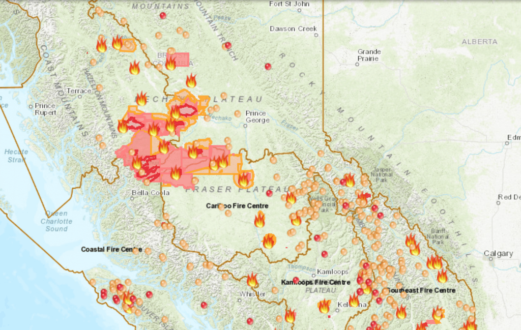 View the location and details of all active wildfires in b.c. This Interactive Map Shows The Risk Of Wildfires Across British Columbia