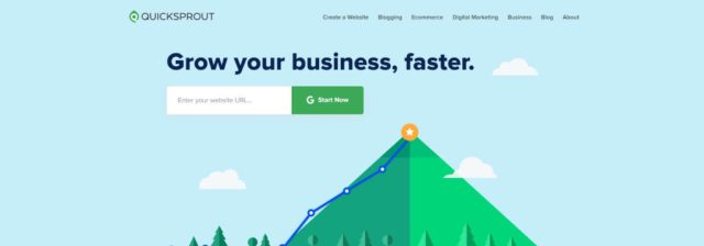Example of Quicksprout's landing page copy for ctas