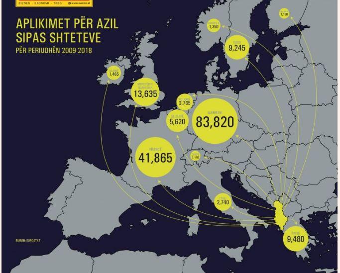 Harta  Si po  pushtojnë  shqiptarët Europën  rekordi u arrit në 2015 n
