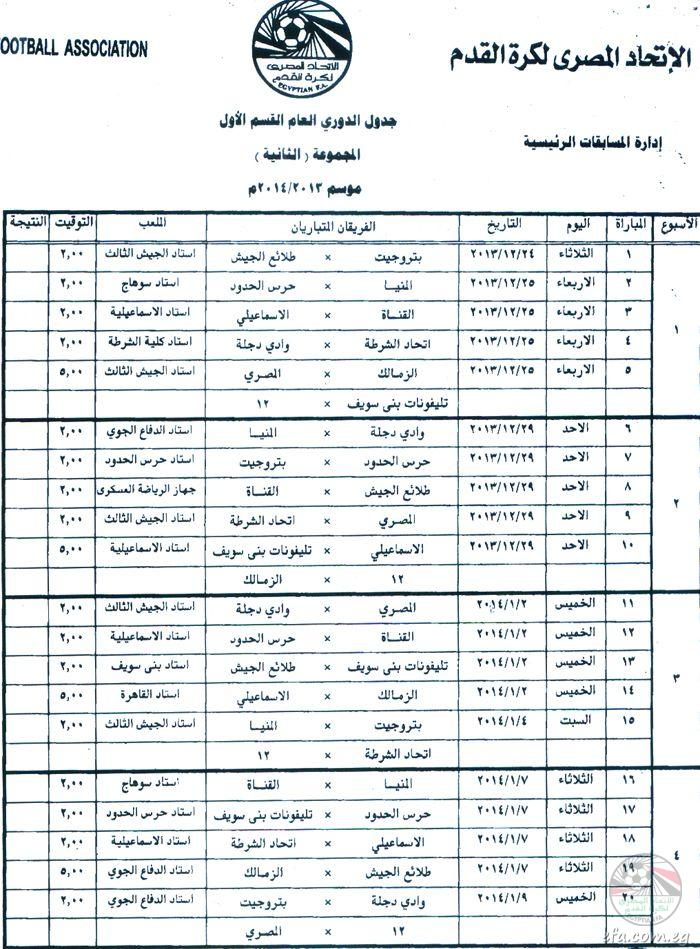 الجدول الكامل لمباريات الدوري المصري لكرة القدم