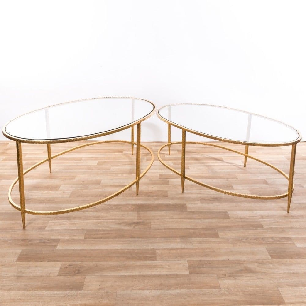 clearance 30 0ff contemporary gold metal glass top oval nest of 2 side coffee table cmt054