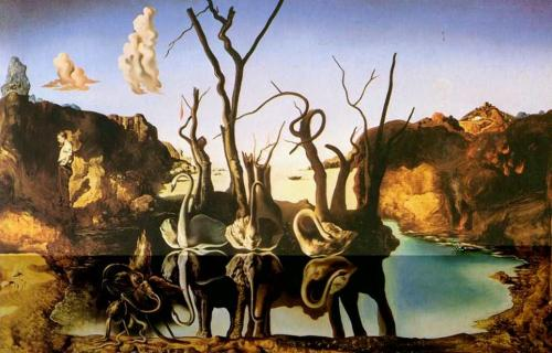 rainingbluefloyd:</p> <p>Dalì, Swans Reflecting Elephants. 1937.</p> <p>No one can create a picture like Dali.<br /> A picture with hidden meanings about his many obsessions.<br /> The more you stare at it, the more you can see.<br /> Disturbing images from Dali's youth.<br /> Could that be Dali standing off to the left side<br /> by himself, with his hands in his pockets,<br /> staring off into space?<br /> A man who never fit in with his peers or society.<br /> A man who used his demons to create works of art.