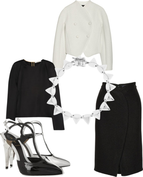 Fendi by simplyglamx featuring pointed-toe pumpsChloé black topnet-a-porter.comProenza Schouler white double breasted jacketnet-a-porter.comProenza Schouler wraparound skirtnet-a-porter.comFendi pointed-toe pumpsnet-a-porter.comEddie borgo braceletnet-a-porter.com
