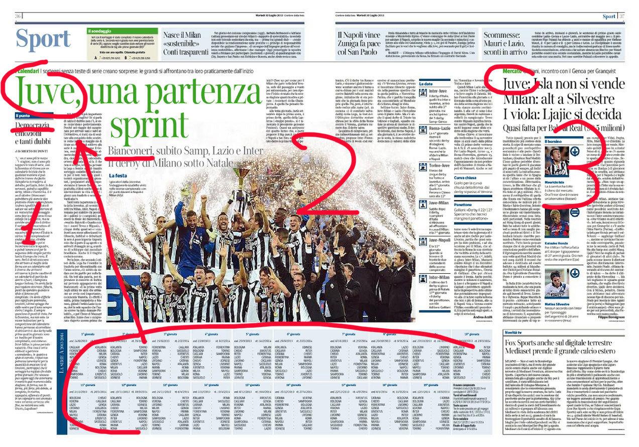Serie Fiat: così il Corriere presenta oggi il nuovo calendario del campionato Agnelli