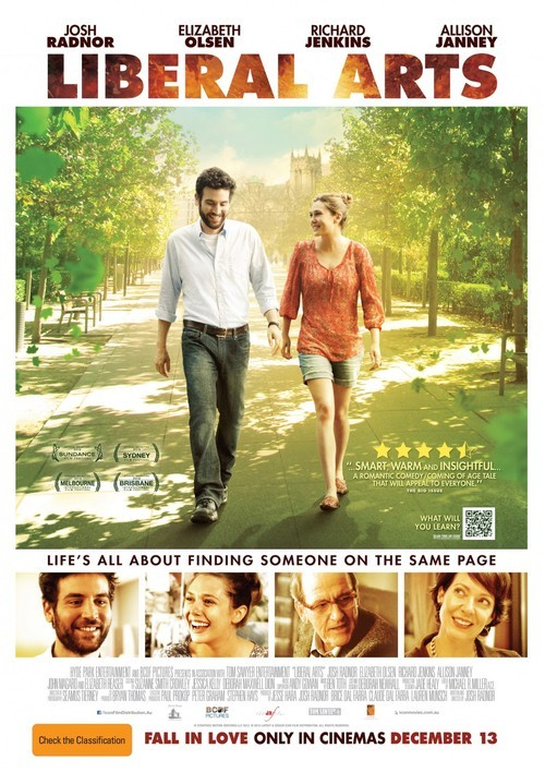 """Liberal Arts(2012)Writen, produced and directed by Josh Radnor. Starring Josh Radnor, Elizabeth Olsen, Richard Jenkins,…When 30-something Jesse returns to his alma mater for a professor's retirement party, he falls for Zibby, a college student, and is faced with a powerful attraction that springs up between them.This was a refreshing and very simple film that felt more like a moving conversation or documentary about university, work and life. Josh Radnor did a great job writing, producing and acting in the film. It shows you are never finished learning, whatever your age. It was very insightful and made you question the choices that you make in life. Everyone should see this, but especially if you are in university or graduated. The main character, and I too, feel at times like you sort of take for granted when you are actually in university (probably because you are so overwhelmed with the work load) to really appreciate it. When you get out you think the world will be your oyster and that you can do anything. Only to realize you are in the real world now and things might not turn out the way you wanted it to or expect. This film makes you feel like you are not alone in this situation, that other people too are trying to figure out there next step. Even the university professor in the film feels like this as he is trying to retire.It was so ironic that they go quite heavily into Twilight. Questioning if it is a good book or not, and how people in the world today are liking things that are """"not good."""" They casted Elizabeth Reaser who is all the Twilight films and this just added to the inside joke! I thought that was smart and funny. Zac Efron also makes an appearance as a full on hippie.I think the love story at the end sort of ruined the film, because it played into the typical Hollywood stereotype of him finding the right person at the end. Life rarely plays out this perfectly in real life; that there is a perfect person down the street at the local independent b"""