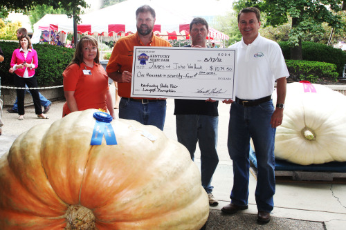 Charlie Brown won't have any trouble finding this great pumpkin! James & John Van Hook grew a 1,075 lbs. pumpkin to win the Largest Pumpkin Contest in 2012! See more large pumpkins at this year's Kentucky State Fairduring the Largest Pumpkin Contest on Friday, August 16 at 11:30 a.m.
