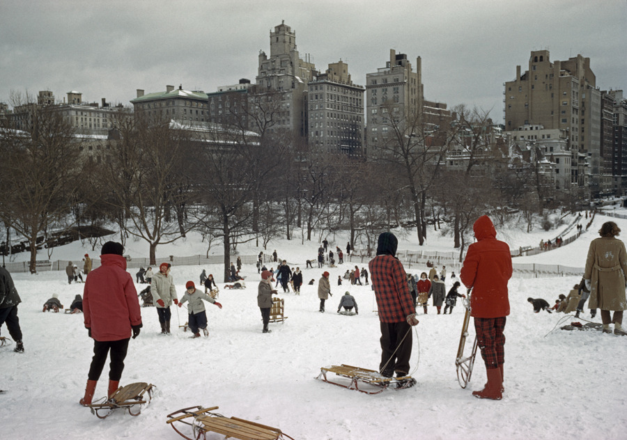 Sledders clamber up a snowy hill in Central Park, December 1960.Photograph by Bates Littlehales, National Geographic