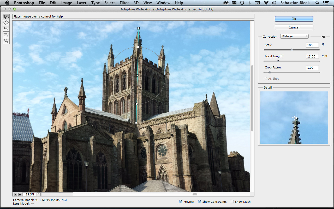Filter in Adobe PhotoshopCC Hereford Cathedral